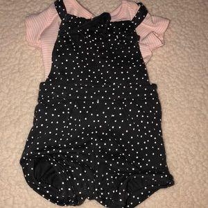 Grey polka dot and pink shirt overalls
